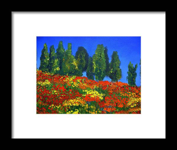 Poppies Landscape Framed Print featuring the painting Poppies Landscape by Mary Jo Zorad