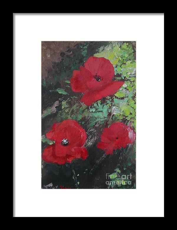 Red Framed Print featuring the painting Poppies by Lizzy Forrester