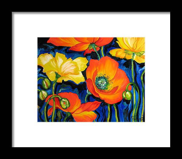 Poppy Framed Print featuring the painting Poppies by Marcia Baldwin