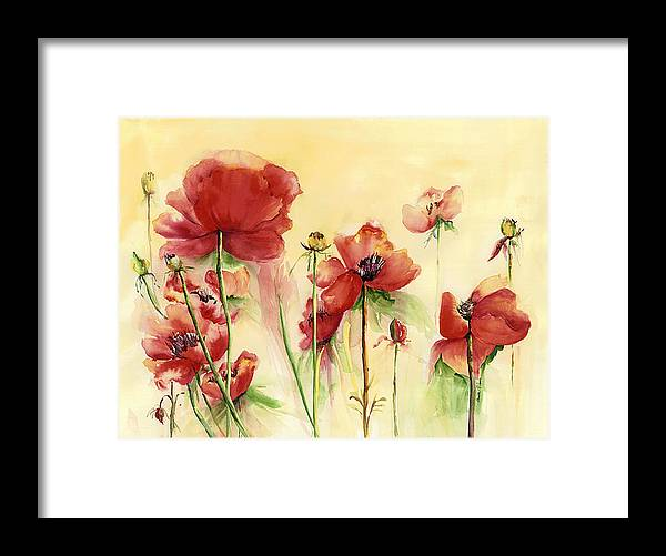 Flowers Framed Print featuring the painting Poppies On Parade by Priscilla Powers