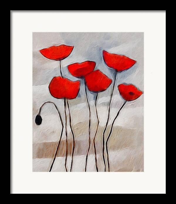 Poppies Framed Print featuring the painting Poppies Painting by Lutz Baar