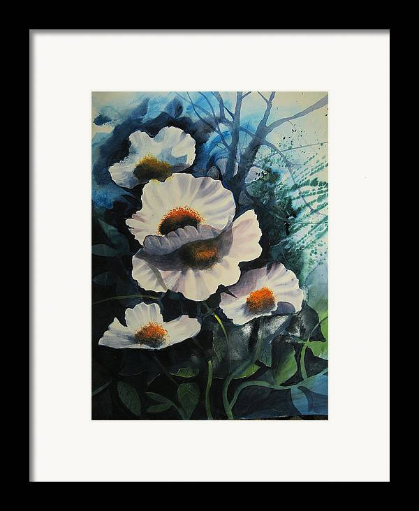 Floral Framed Print featuring the painting Poppies by Robert Carver