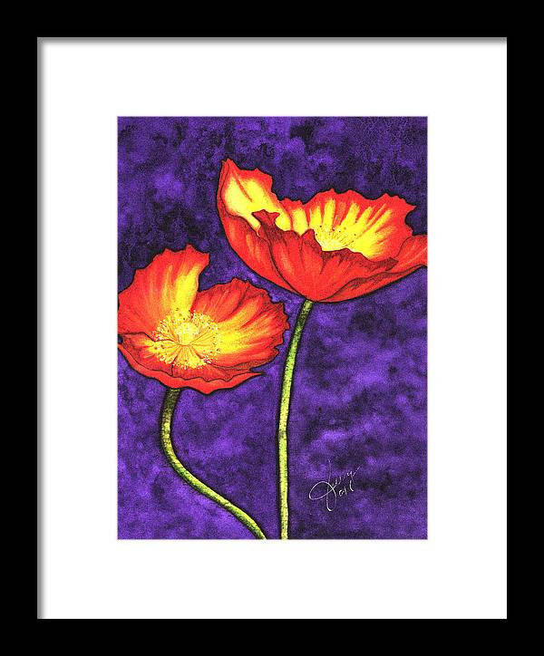 Watercolor Framed Print featuring the painting Poppies by Stephanie Jolley