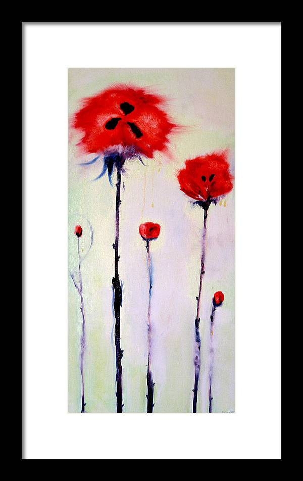 Poppies Framed Print featuring the painting Poppy Family by Jenna Fournier