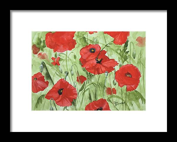 Red Framed Print featuring the painting Poppy Field 1 by Jean Blackmer