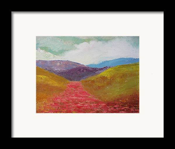 Landscape Framed Print featuring the painting Poppy Field by Belinda Consten