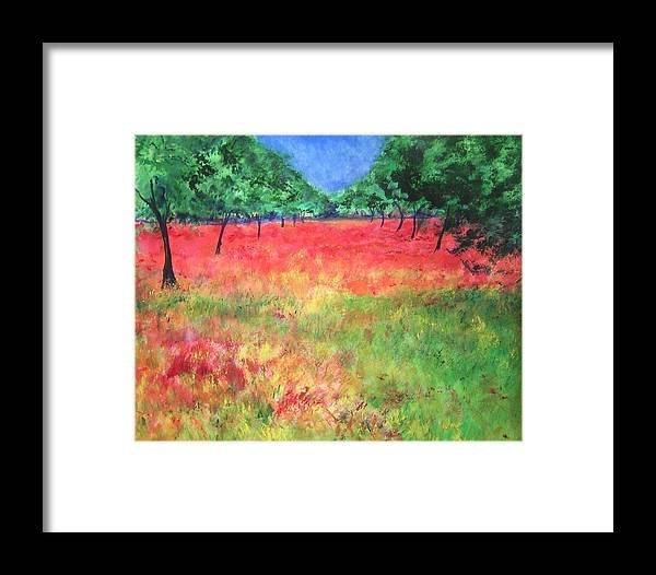 Original Landscape Painting. Poppy Field Framed Print featuring the painting Poppy Field II by Lizzy Forrester