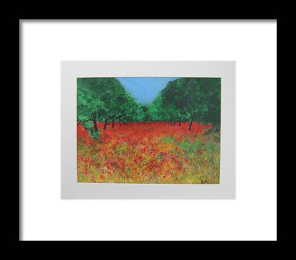 Poppy Framed Print featuring the painting Poppy Field In Ibiza by Lizzy Forrester