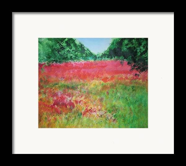 Lanscape Framed Print featuring the painting Poppy Field by Lizzy Forrester