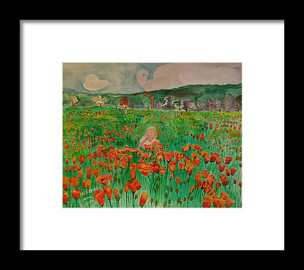 Poppy Fields Girl Flowers Framed Print featuring the painting Poppy Field by Shellie Gustafson