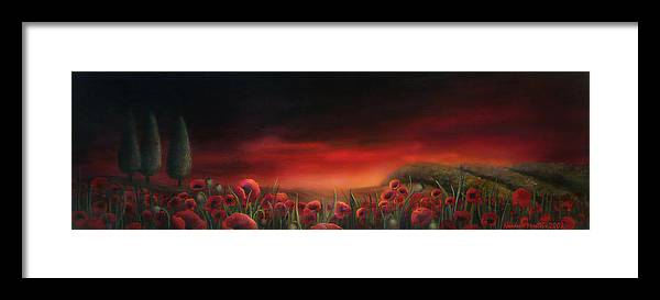 Poppyfields Framed Print featuring the painting Poppy Fields At Dawn by Neadeen Masters