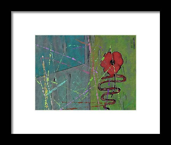 Abstract Framed Print featuring the digital art Poppy by Joseph Ferguson