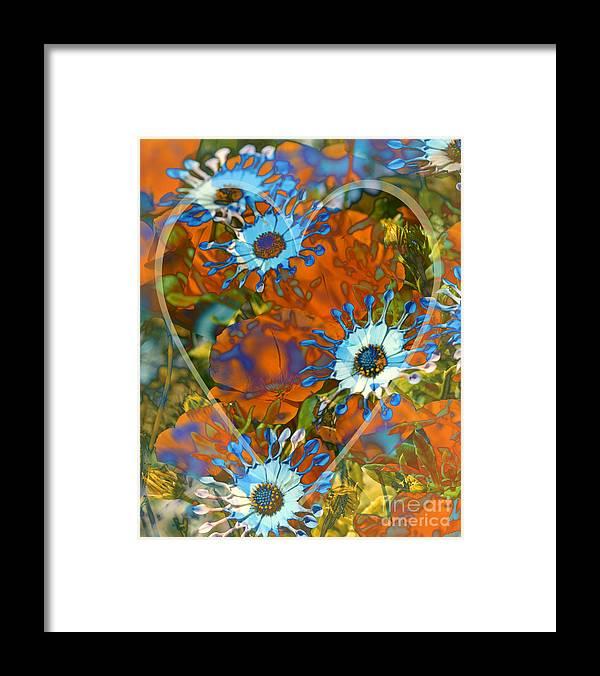 Floral Framed Print featuring the digital art Poppy Love by Chuck Brittenham
