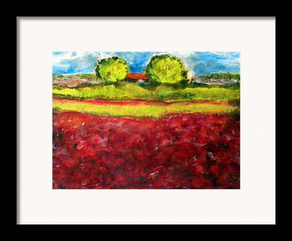 Landscape Framed Print featuring the painting Poppy Meadow by Karla Phlypo-Price