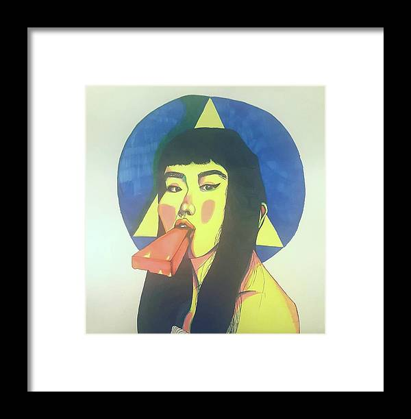 Framed Print featuring the drawing Popsicle by Kaylyn Groom