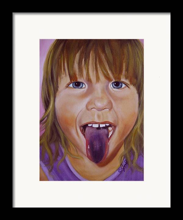 Child Framed Print featuring the painting Popsicle Tongue by Joni McPherson