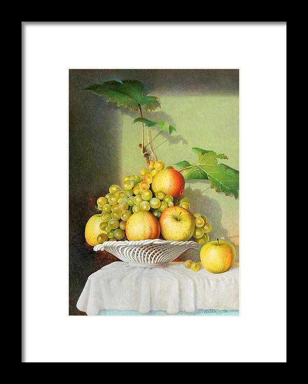 Giuseppe Mariotti Framed Print featuring the painting Porcelain Fruit Bowl by Giuseppe Mariotti
