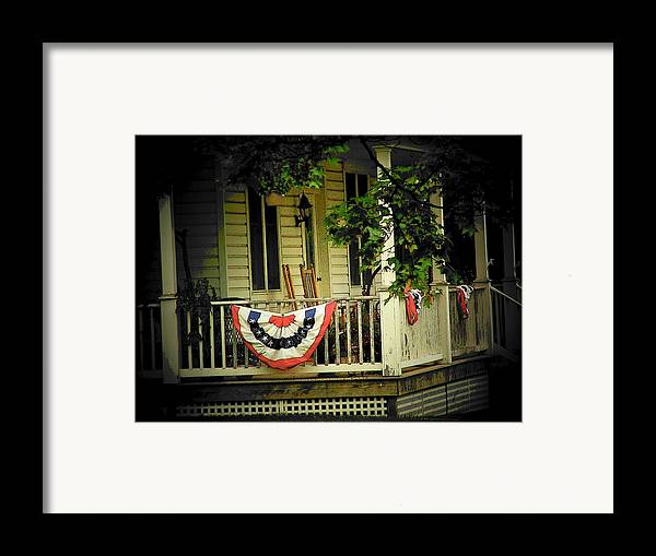 Porch Framed Print featuring the photograph Porch Flag by Michael L Kimble