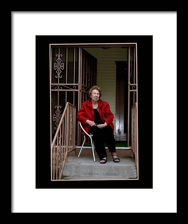 People Framed Print featuring the photograph Porchwatcher by Richard Gordon