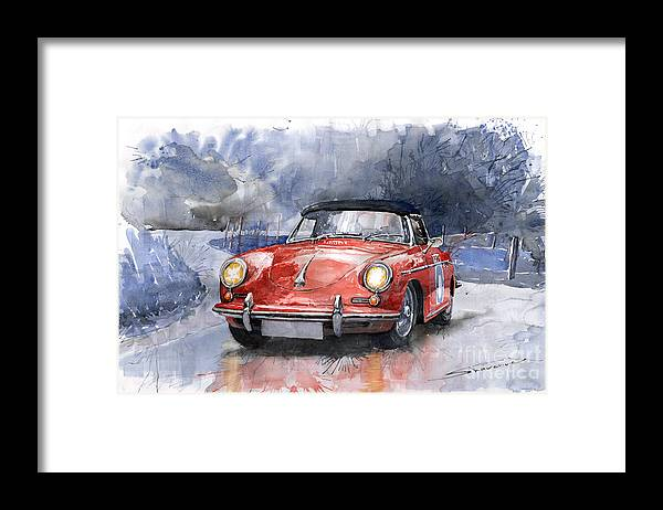 Auto Framed Print featuring the painting Porsche 356 B Roadster by Yuriy Shevchuk