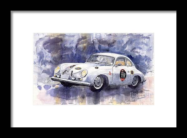 Watercolour Framed Print featuring the painting Porsche 356 Coupe by Yuriy Shevchuk