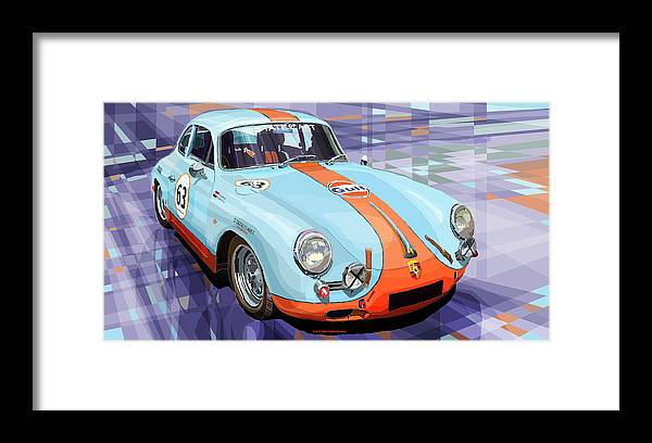 Automotive Framed Print featuring the digital art Porsche 356 Gulf by Yuriy Shevchuk