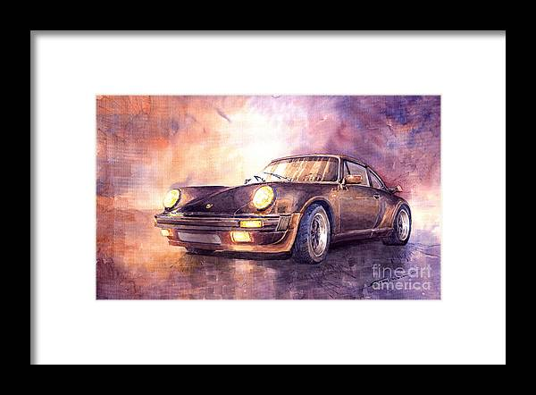 Shevchukart Framed Print featuring the painting Porsche 911 Turbo 1979 by Yuriy Shevchuk