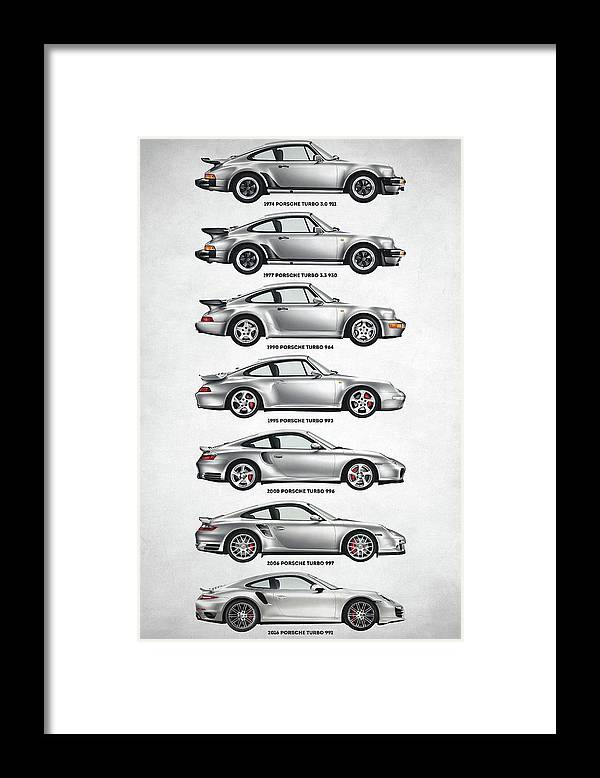 Porsche 911 Turbo Framed Print featuring the digital art Porsche 911 Turbo Evolution by Zapista OU