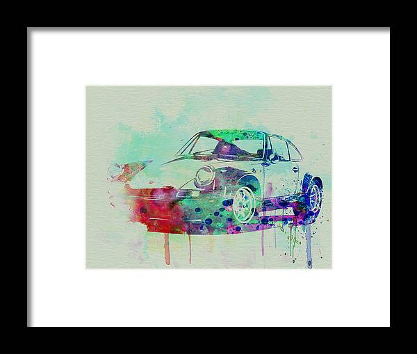 Porsche 911 Framed Print featuring the painting Porsche 911 Watercolor 2 by Naxart Studio