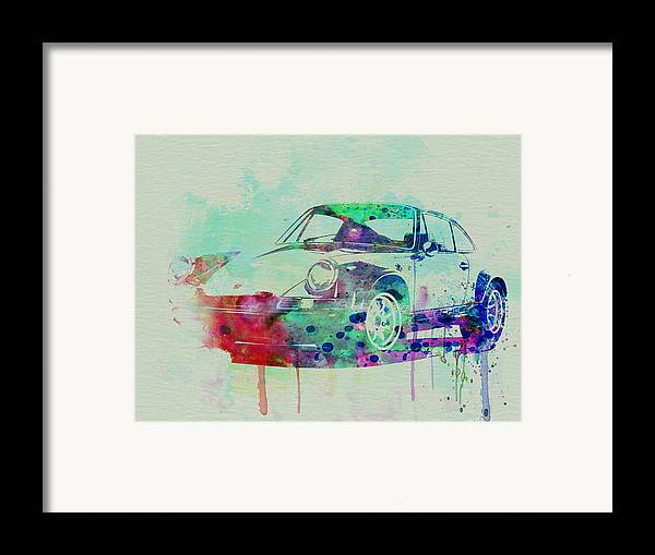 Porsche 911 Framed Print featuring the painting Porsche 911 Watercolor 2 by Naxart Studio