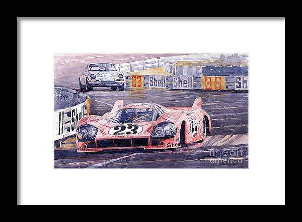 Watercolor Framed Print featuring the painting Porsche 917-20 Pink Pig Le Mans 1971 Joest Reinhold by Yuriy Shevchuk