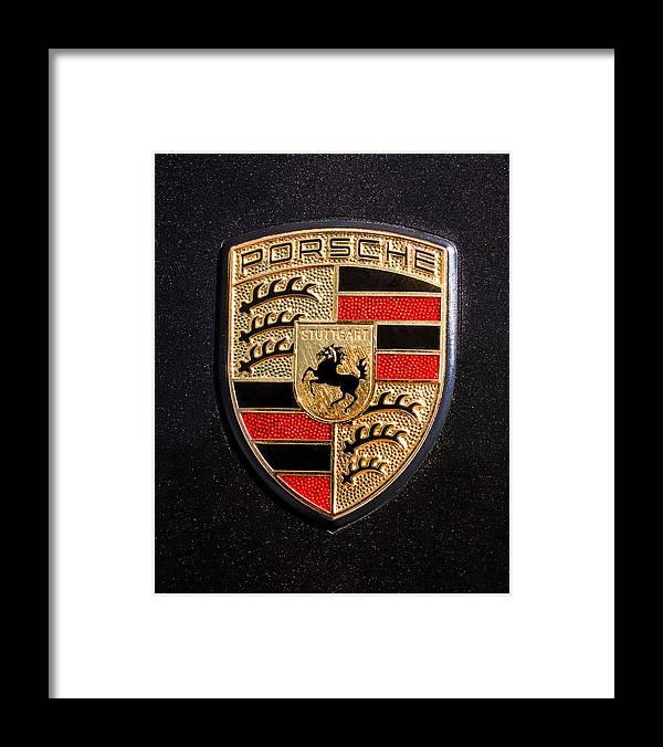 Porsche Logo Framed Print featuring the photograph Porsche Emblem -211C by Jill Reger
