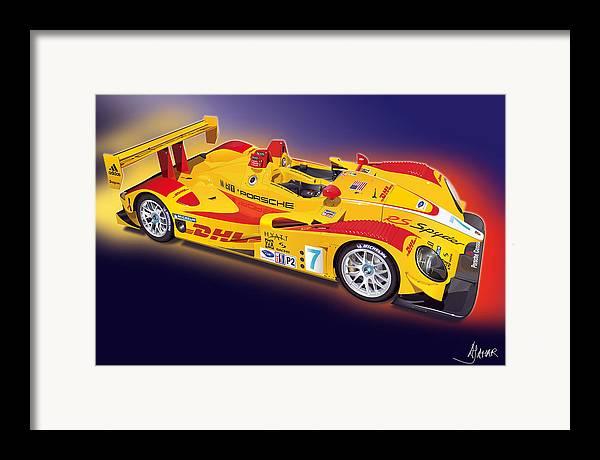 Transportation Framed Print featuring the digital art porsche RS Spyder by Alain Jamar