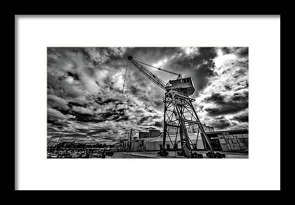 Port Framed Print featuring the photograph Port Crane by Ddzphoto
