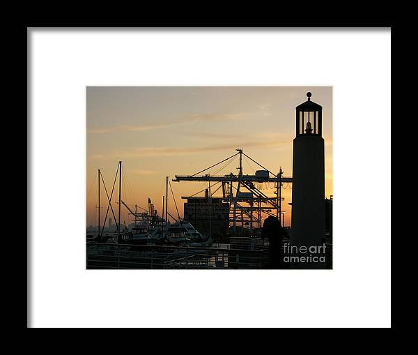 Oakland Framed Print featuring the photograph Port Of Oakland Sunset by Carol Groenen
