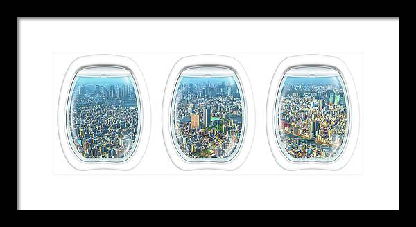 Flight Framed Print featuring the photograph Porthole Frame On Tokyo by Benny Marty