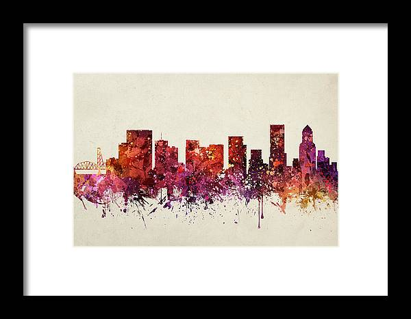 Portland Framed Print featuring the painting Portland Cityscape 09 by Aged Pixel