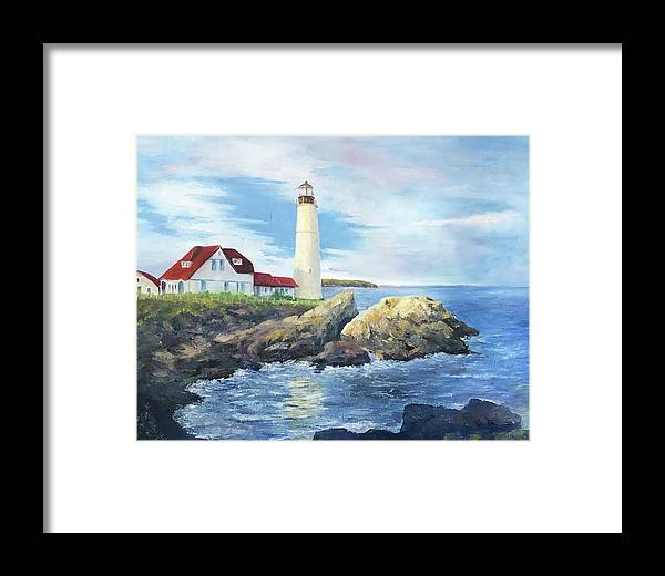 Portland Framed Print featuring the painting Portland Head Light by ML McCormick