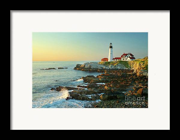 Coastline Framed Print featuring the photograph Portland Head Light No. 2 by Jon Holiday