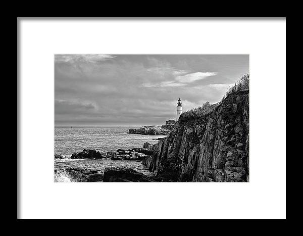 Portland Framed Print featuring the photograph Portland Head Lighthouse - Cape Elizabeth Maine In Black And White by Bill Cannon