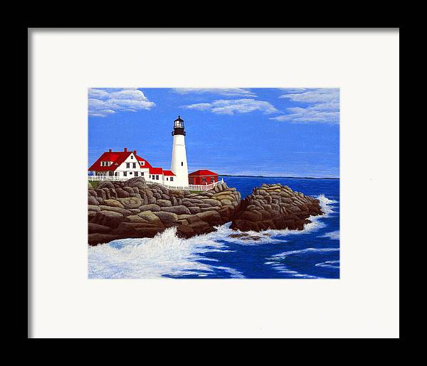 Art Framed Print featuring the painting Portland Head Lighthouse by Frederic Kohli