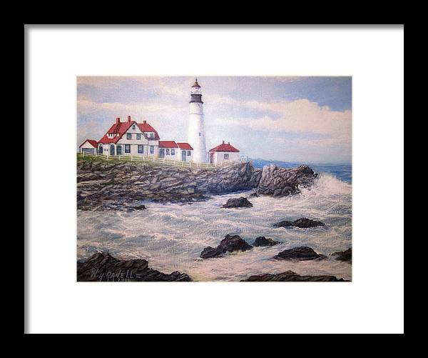 Lighthouse Framed Print featuring the painting Portland Head Lighthouse by William H RaVell III