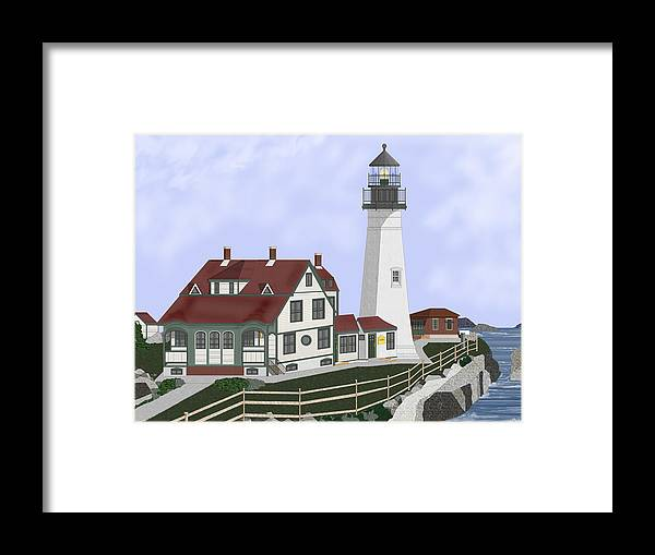 Portland Head Lighthouse Framed Print featuring the painting Portland Head Maine on Cape Elizabeth by Anne Norskog