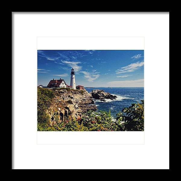 Mymaine Framed Print featuring the photograph #portland #lighthouse #maine by Luisa Azzolini