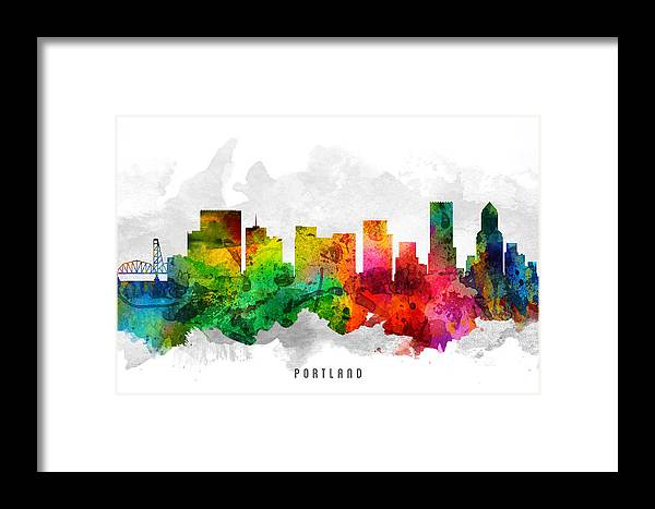 Portland Framed Print featuring the painting Portland Oregon Cityscape 12 by Aged Pixel