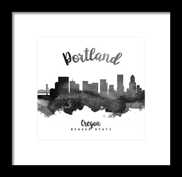 Portland Framed Print featuring the painting Portland Oregon Skyline 18 by Aged Pixel