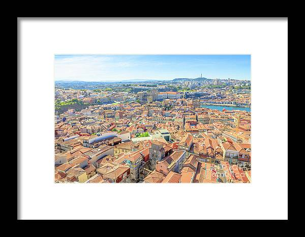 Oporto Framed Print featuring the photograph Porto Aerial Portugal by Benny Marty