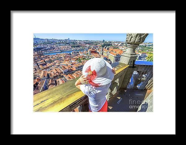 Oporto Framed Print featuring the photograph Porto Skyline Woman by Benny Marty