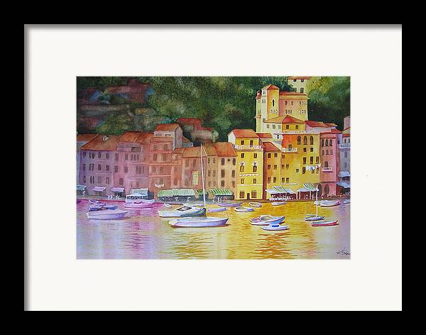 Italy Framed Print featuring the painting Portofino Afternoon by Karen Stark