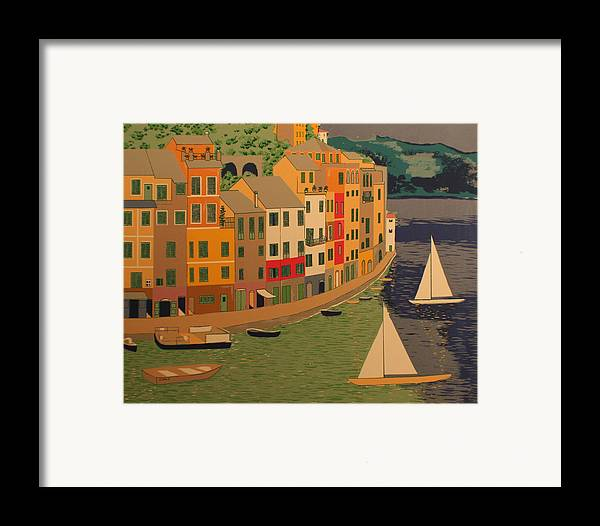 Harbor Framed Print featuring the painting pORTOFINO by Biagio Civale